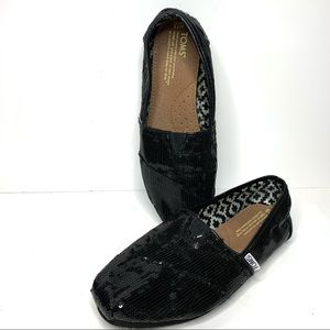TOMS Black Sequin Classic Slip-on